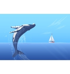 Jump humpback big huge whale near small boat ship vector