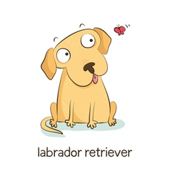 Labrador retriever dog character isolated on white vector