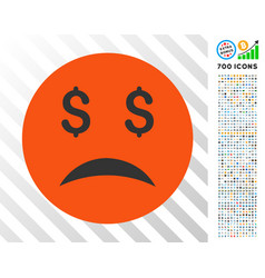 Bankrupt smiley flat icon with bonus vector