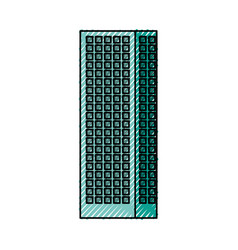 Blue aquamarine tall building vector