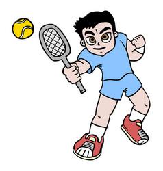 boy tennis vector image