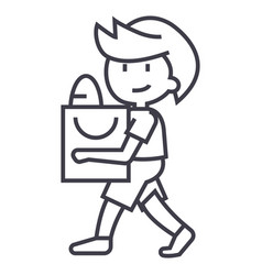 boy with shopping bag line icon sign vector image vector image