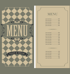 checkered menu for restaurant with price list vector image vector image