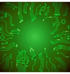 Circuit board green background vector image vector image