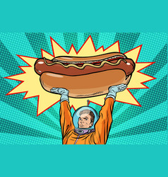 Cosmonaut and hot dog fast food vector