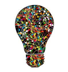 Creative light bulb with colorful network on white vector image