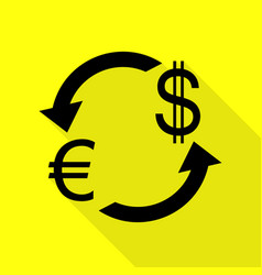 Currency exchange sign euro and us dollar black vector