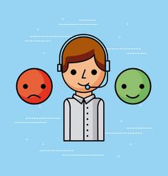 customer service call center operator wearing vector image