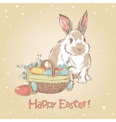 Easter retro card with cute hand drawn bunny vector image