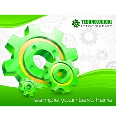 Gears on technical background vector image