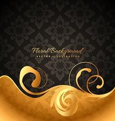 Golden floral background vector