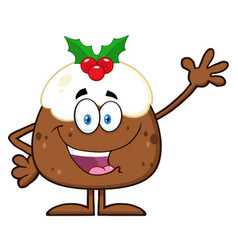 Happy christmas pudding cartoon character vector