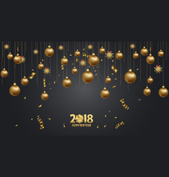 Happy new year 2018 wallpaper gold and black vector