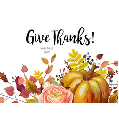 happy thanksgiving floral watercolor style hand vector image vector image