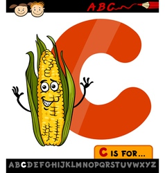 letter c with corn cartoon vector image