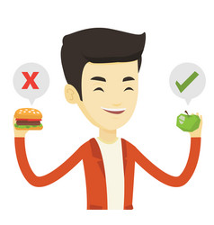 Man choosing between hamburger and cupcake vector
