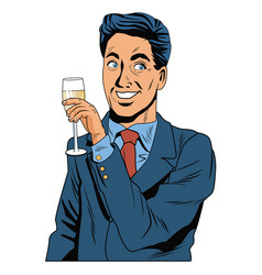 Man with champagne cup pop art vector