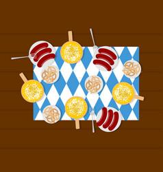 oktoberfest food beer and sausages pretzels in vector image vector image