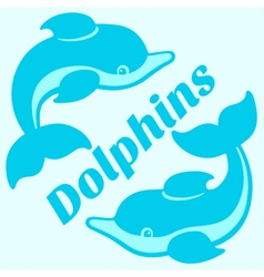 Playing dolphins cartoon drawing vector image vector image