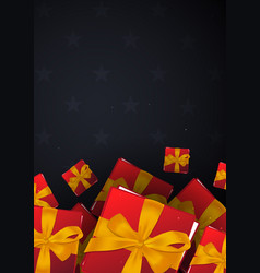 red gift box on dark background vector image