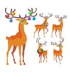 reindeer christmas icon graceful deer collection vector image vector image