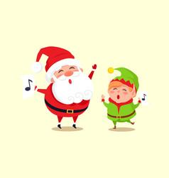 Santa elf cartoon characters singing carol songs vector