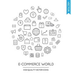 Set of E-Commerce Modern Flat Thin Icons Inscribed vector image