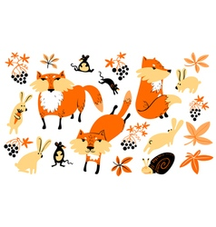 set with animals and florals in childrens style vector image vector image