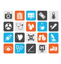 Silhouette medical tools and health care equipment vector image vector image