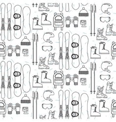 Ski and snowboard line equipment seamless pattern vector
