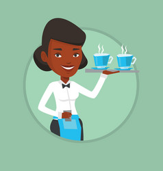 Waitress holding tray with cups of coffeee or tea vector