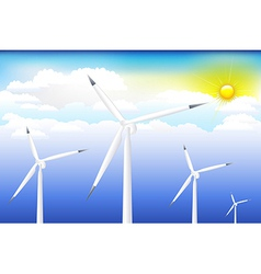 Wind turbine on blue sky vector
