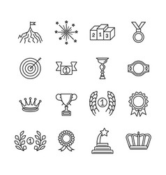Awards line icons success and winning vector