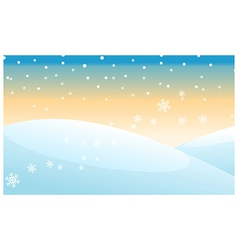 Snowing over snowcapped mountain vector