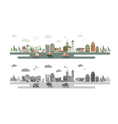 Old town and urban traffic vector