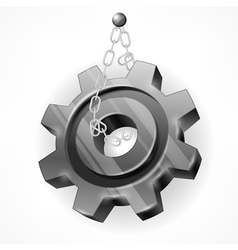 Gear with chain on white vector image