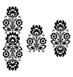 Folk embroidery - floral traditional polish print vector
