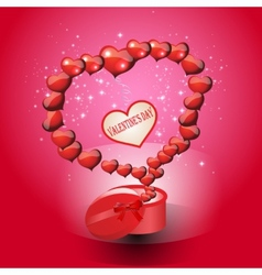 Card valentines day on a red background vector