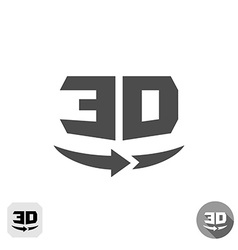 3d rotation panorama sign 360 degree view icon vector