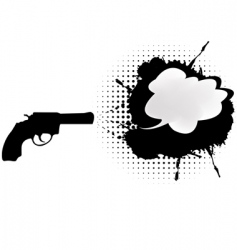 black gun with chat bubble vector image