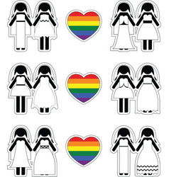 Lesbian brides icon set with rainbow element vector