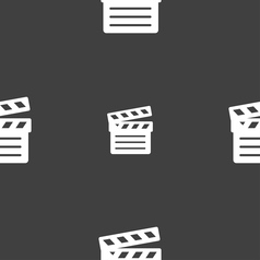 Cinema clapper icon sign seamless pattern on a vector