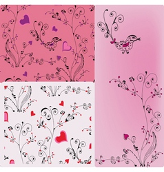 Floral heart patterns vector