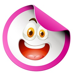 Happy face on round badge vector