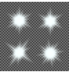 Set of glowing light bursts with sparkles vector