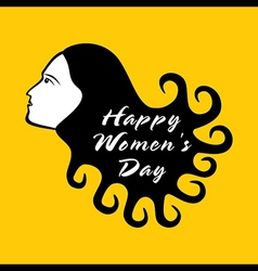 Happy women day design  women with curly hair vector