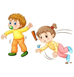 Toddler falling down on the ground vector