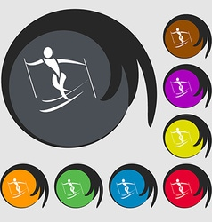 Skier icon symbols on eight colored buttons vector