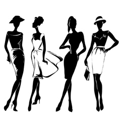 Black and white retro fashion models in sketch vector