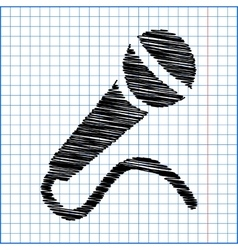 Microphone icon with pen effect on paper vector